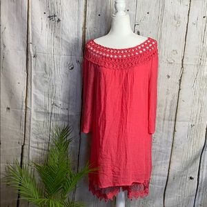 Monoreno Coral Woven Lace Trim Dress